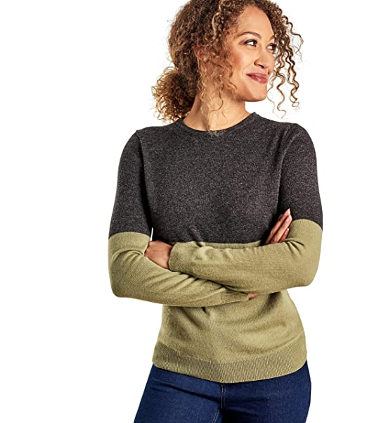 29ef9188301cda Woolovers Womens Cashmere Merino Colourblock Crew Neck Jumper:  Amazon.co.uk: Clothing