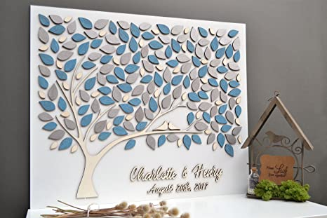 100 200 guests 3d guest book tree with flowers-Wedding Guest Book Alternative-Gold for up to 30 150 50