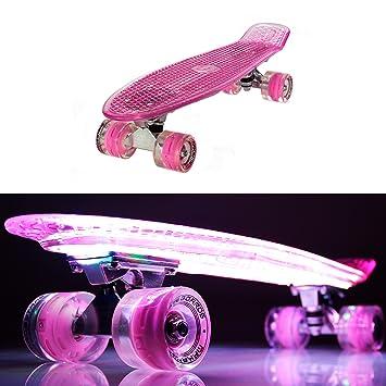 makanih Luz LED arriba tabla de skate con ruedas para intermitente Rodamientos de Bola de acero