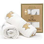 "Alpy Baby Bamboo Muslin Swaddle Blankets - ""Alpacas and Stars"" - 47 inches x 47 inches - Silky Soft in Beige, Grey, White - Set of 2"