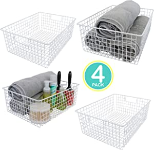 "Kitchen Basics 101 Large Farmhouse Metal Wire Storage Basket Bins with Handles 16"" x 12"" x 6"" Closets, Shelves, Cabinets, Bathrooms (White, 4)"