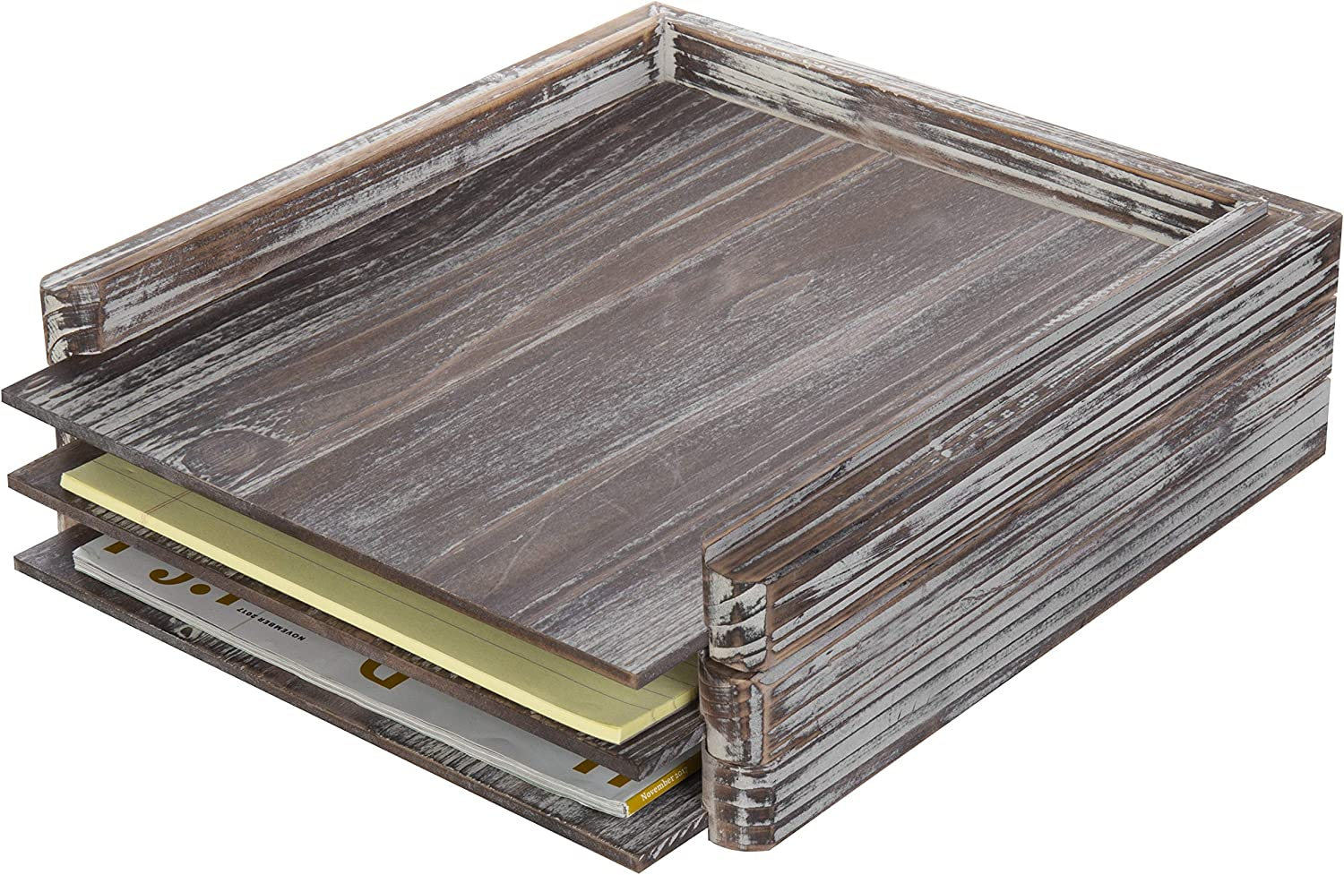 MyGift Rustic Torched Wood Desktop Stackable Document Tray Organizer, Set of 3
