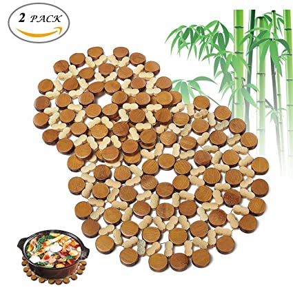 Flee Decorative Bamboo Trivets Mat For Hot Dishes Pot Coasters Bowl Plate Holders 1 Small and  sc 1 st  Amazon.com & Amazon.com: Flee Decorative Bamboo Trivets Mat For Hot Dishes Pot ...