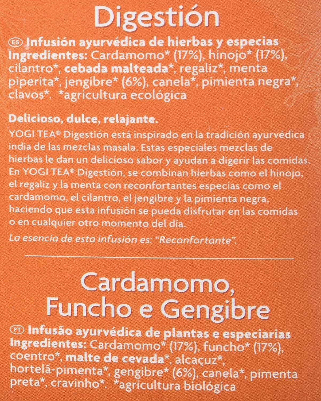 Yogi Tea Infusión de Hierbas Digestion - 17 bolsitas - [pack de 3]: Amazon.es: Alimentación y bebidas