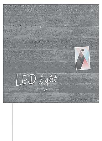 SIGEL GL403 Pizarra de cristal magnética Artverum LED light, 48 x 48 cm, diseño hormigón liso