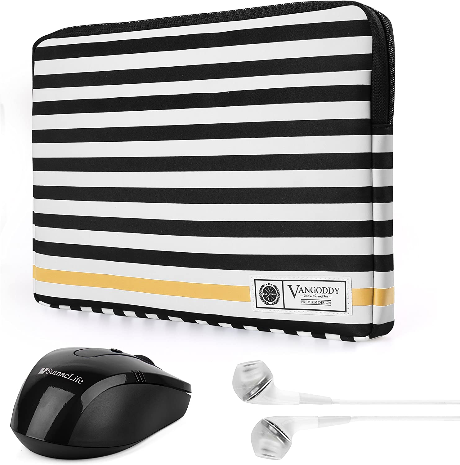 TabPro S 12 inch Tablet Luxe B Series Black White Stripe Compact Zipper Padded Carrying Sleeve for Samsung Galaxy Tab A 10.1 inch Chromebok Series 11.6 inch Laptop with Wireless Mouse and Headphone