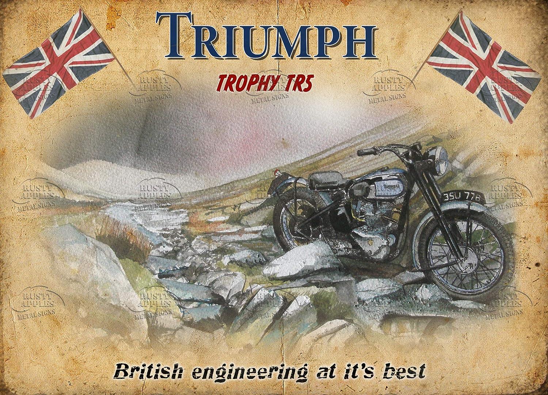 3 tailles au choix D/écoration dint/érieur Cadeau unique Triumph 8 X 6 200 X 150 m Mancave Plaque en m/étal Trophy TR5 Nostalgique La moto britannique embl/ématique