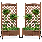 Best Choice Products Set of 2 48in Wood Planter Box & Diamond Lattice Trellis, Mobile Outdoor Raised Garden Bed for…