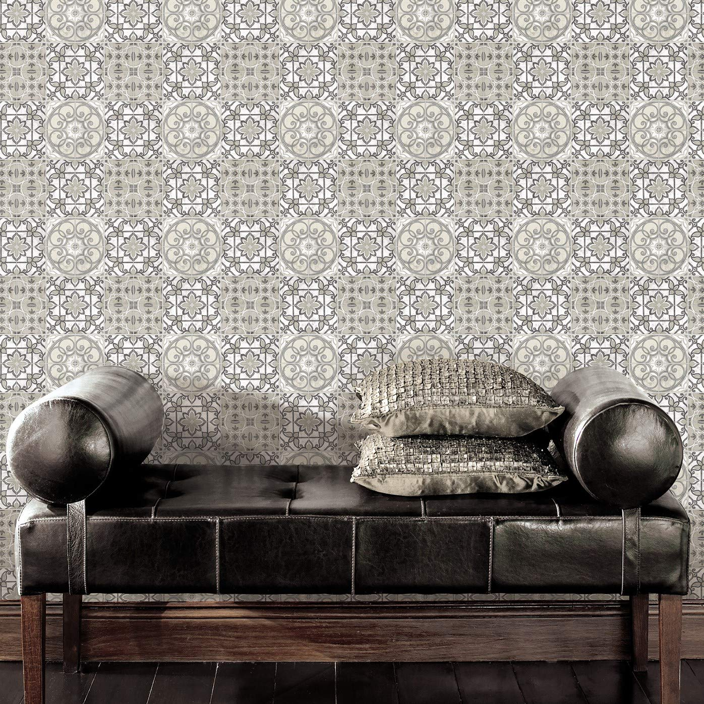 Norwall N20006T Tuscan Duo Dark Gray and White Mosaic Vinyl Peel /& Stick Tile 9.875 x 9.875 Grey Silver 4 Piece