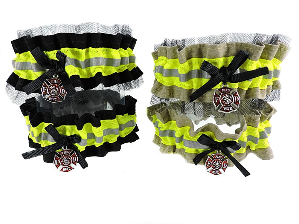 Firefighter wedding garters with lace and ring pillow set Bridal shower gift Ring Bearer Pillow Firefighter bride