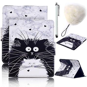 Funda Tablet Samsung Galaxy Tab A 10.1 - Vandot Ultra Slim Lindo Gato Patrón Funda de PU Cuero Magnético Folio Flip Smart Cover Case Carcasa con ...