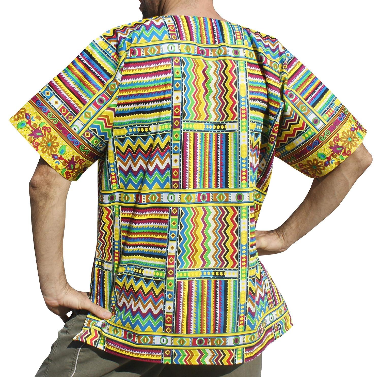 RaanPahMuang Bright Summer Ankara Dashiki Afrikan Weave Print Shirt with Pockets