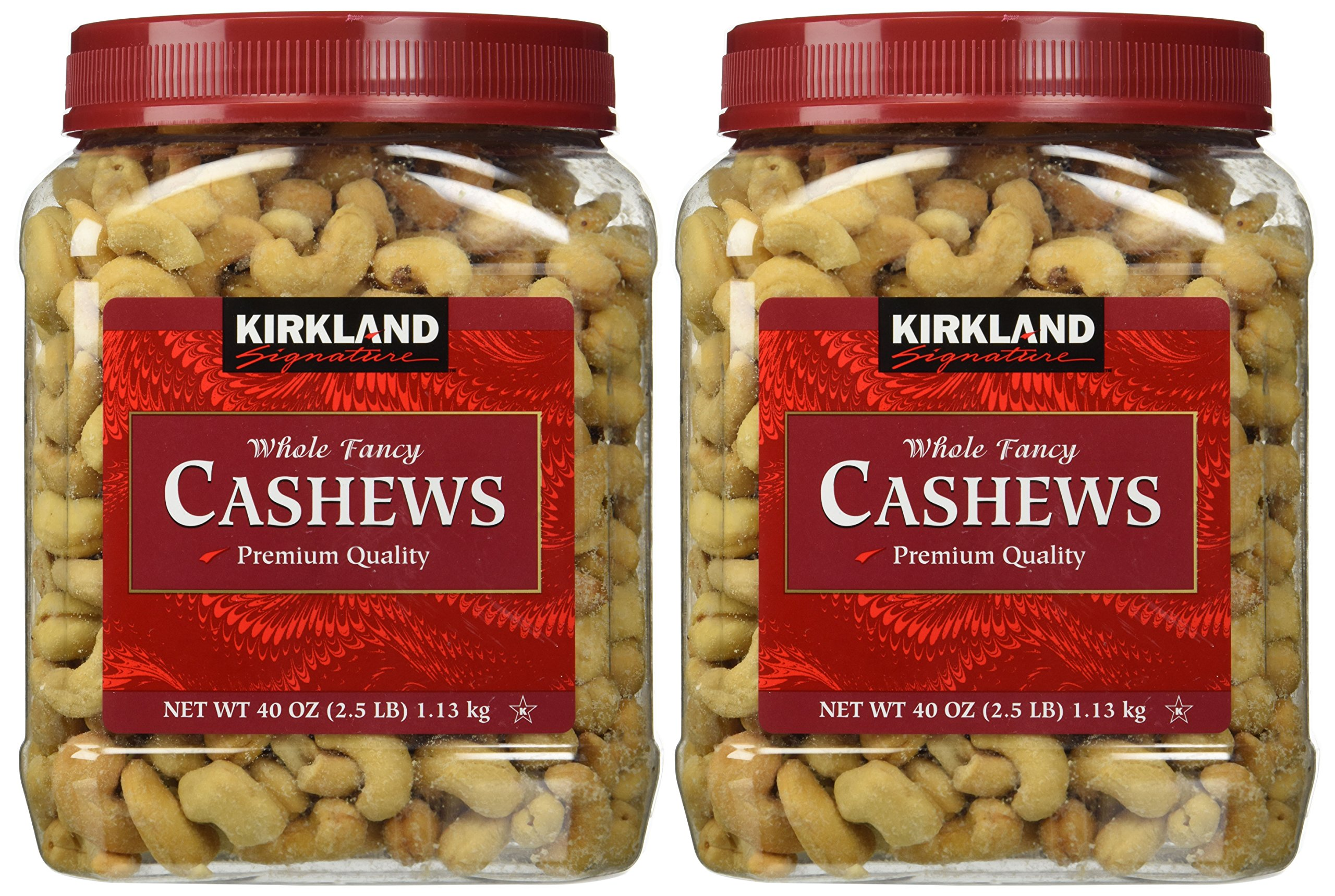Kirkland Signature Whole Cashews 2-pack Two 2.5 lb. Jars, Fancy Grade Mother's Day Gift