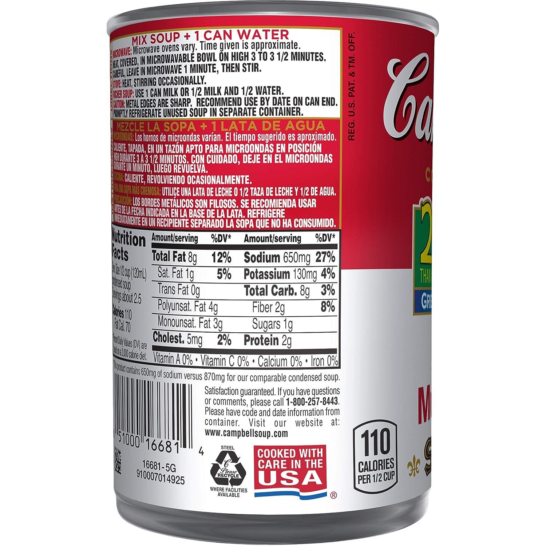 Campbells Condensed 25% Less Sodium Cream of Mushroom Soup, 10.5 oz. Can