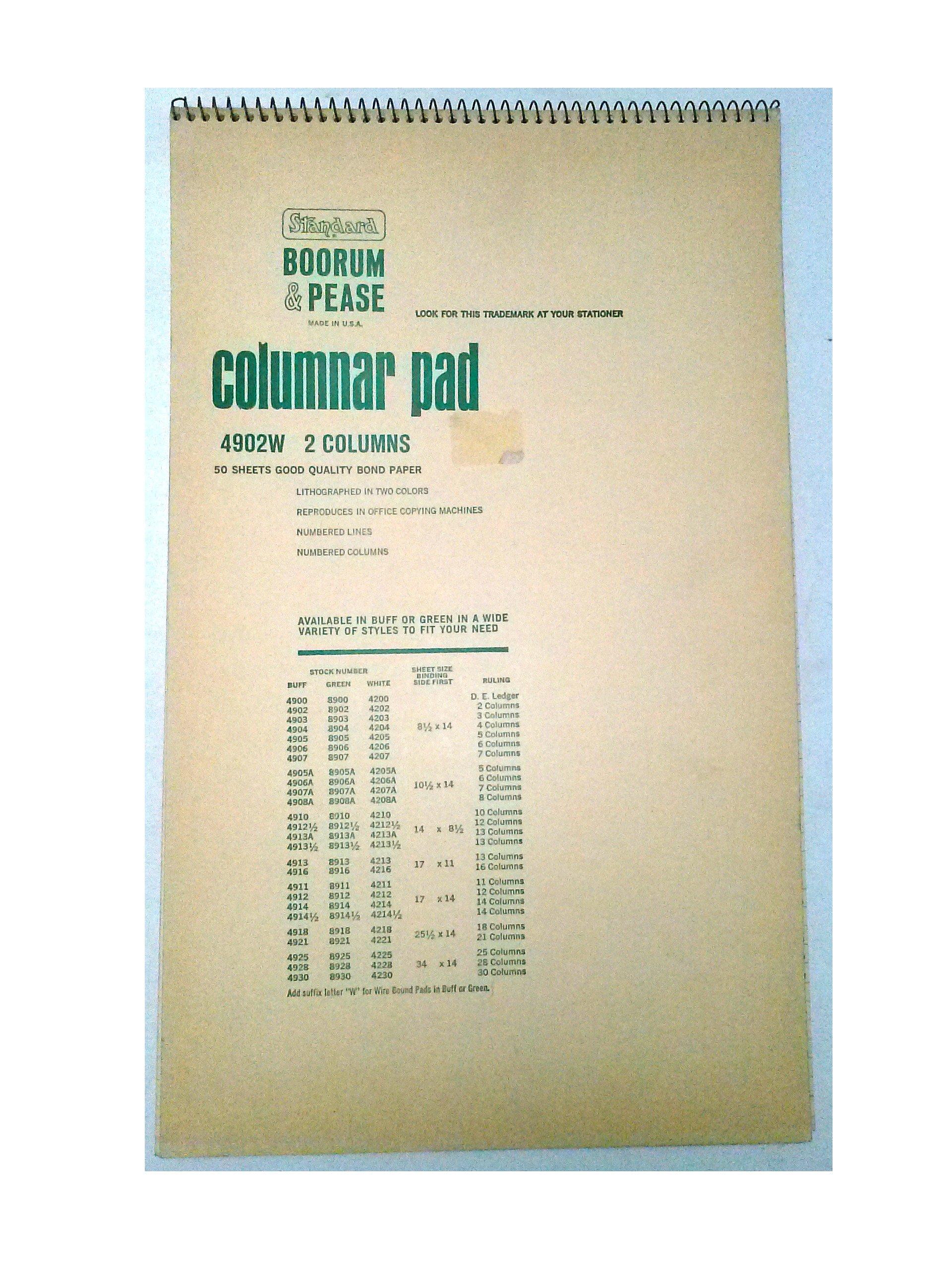 Boorum Pease 4902W Columnar Pad 2 Columns 8 1/2'' x 14'' 50 Sheets