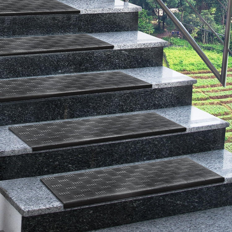 In 2 Gr/ö/ßen wetterfest /& widerstandsf/ähig Floordirekt Gummi-Stufenmatten f/ür au/ßen Madras Treppenmatten f/ür au/ßen Gummimatten Au/ßenbereich 75 x 25 cm