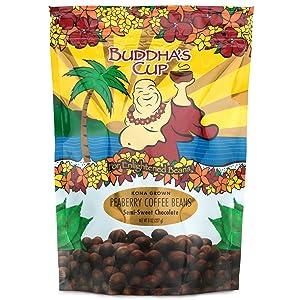 Chocolate Covered Coffee Beans by Buddha's Cup - Semi-Sweet Chocolate Covered Peaberry Coffee Beans - 100% Kona Coffee - 8oz bag