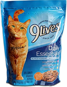 Morris 9Lives Cat Food Daily Essentials, 18oz - with the flavors of salmon, chichen & beef : Healthy skin & coat, strong muscle growth and healthy heart & clear vision