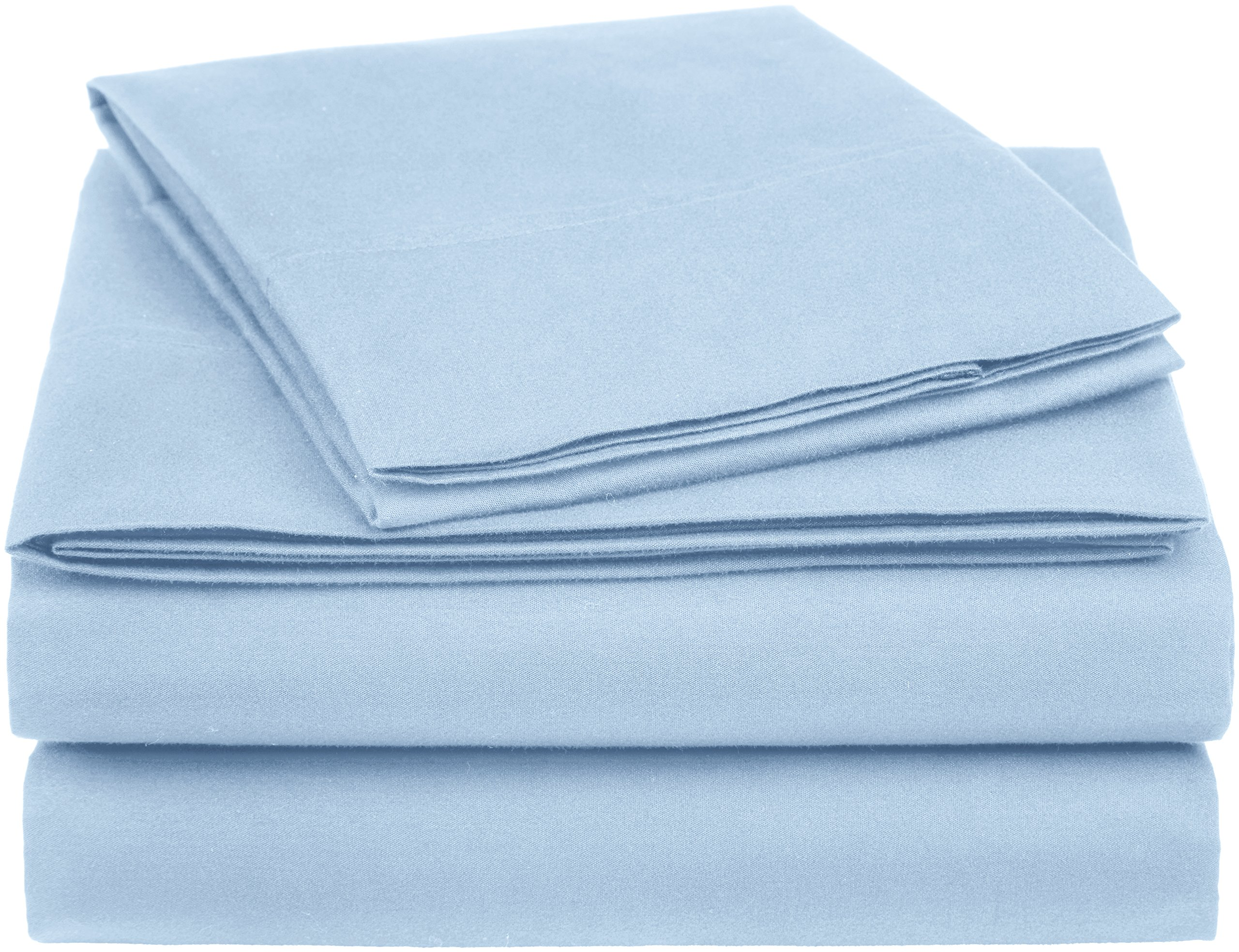 AmazonBasics Essential Cotton Blend Bed Sheet Set, Twin, Smoke Blue - Twin set includes a flat sheet (68 by 96 inches), fitted sheet (39 by 75 by 16 inches), and pillowcase (20 by 32 inches); 4-inch Z hem for added style Cotton-rich blend: made of 52% cotton and 48% polyester; fast drying and wrinkle resistant 225 thread count for breathable comfort and strength - sheet-sets, bedroom-sheets-comforters, bedroom - 915ViKRlvzL -