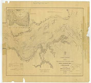 Amazoncom 18 X 24 Canvas 1878 Virginia Old Nautical Map Drawing - James-river-on-us-map