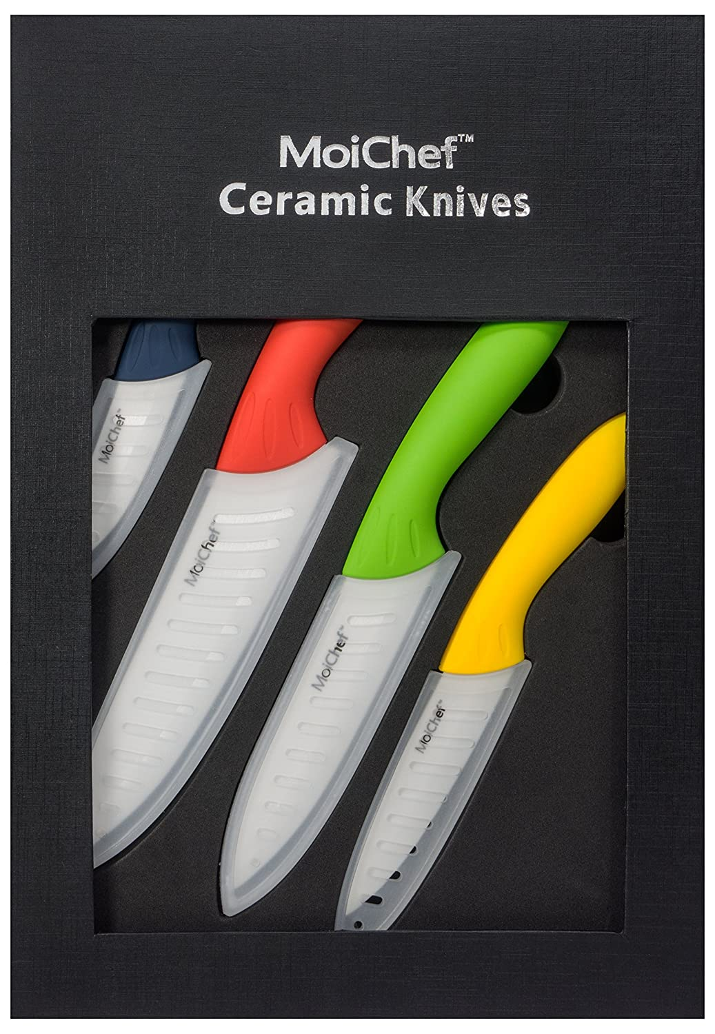 amazon com moichef 8 piece premium ceramic knife set 4 color amazon com moichef 8 piece premium ceramic knife set 4 color kitchen knives with white sheaths in gift box kitchen dining