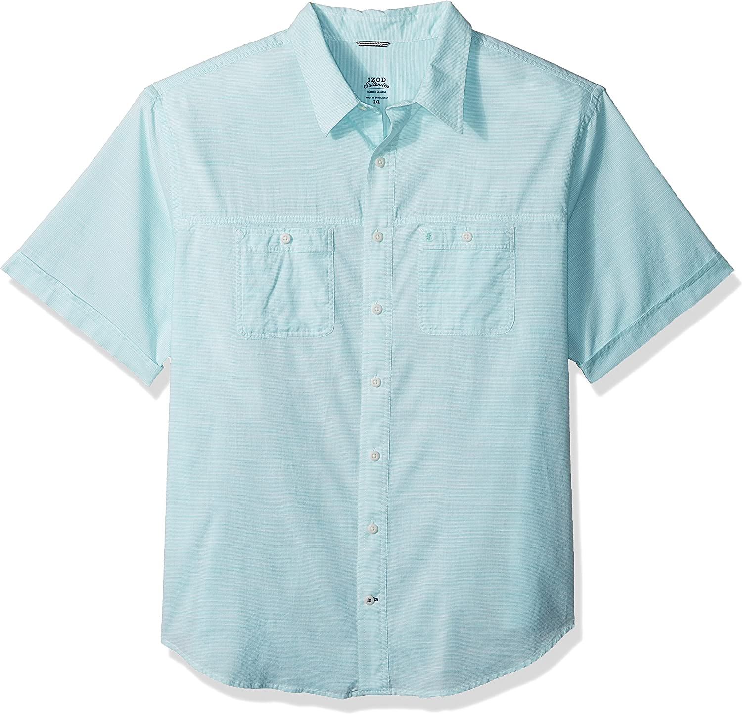 Izod Mens Big and Tall Saltwater Dockside Chambray Short Sleeve Button Down Solid Shirt