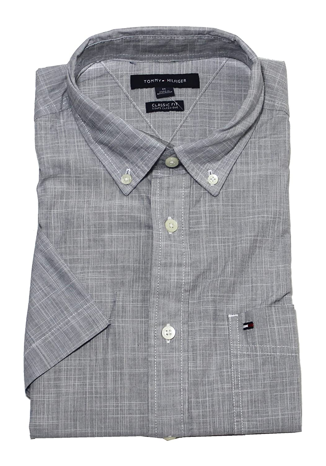 17067a0a Tommy Hilfiger Men's Classic Fit Short Sleeve Buttondown Shirt at Amazon  Men's Clothing store: