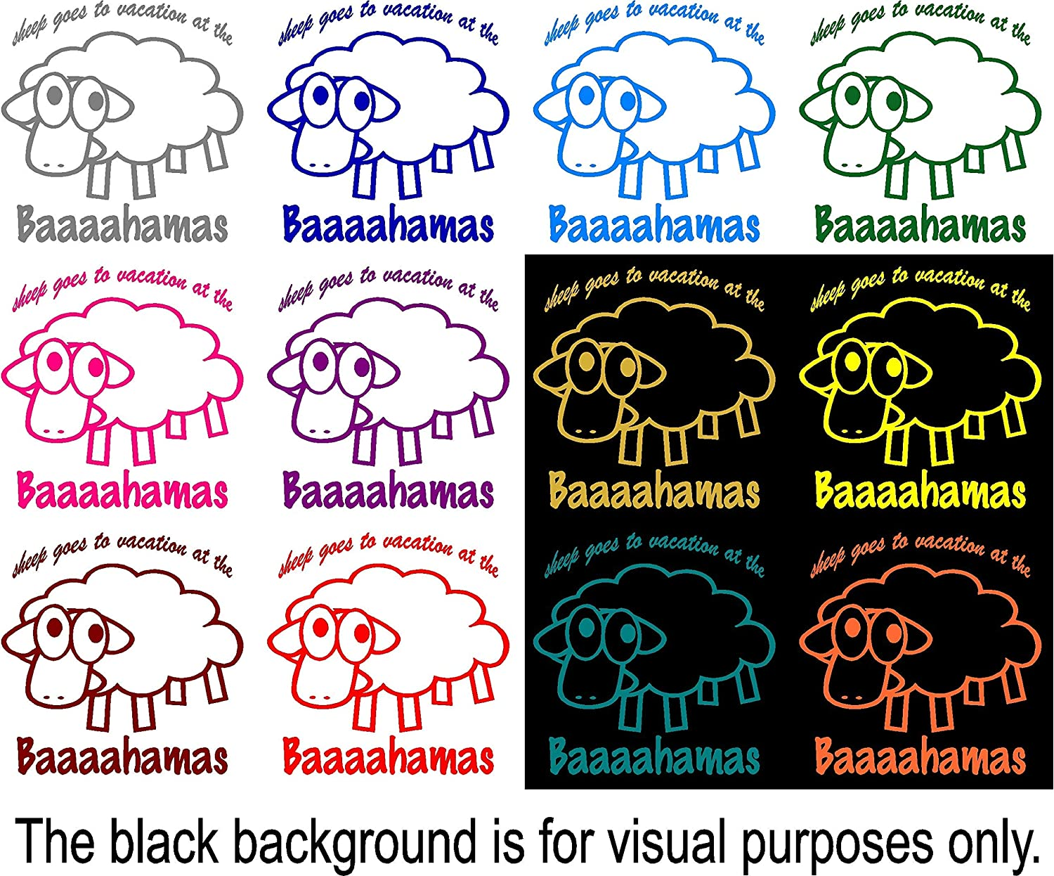 Sheep Goes To Vacation At The Baaaahamas Funny Animal Pun Decal Choose Color V and T Gifts