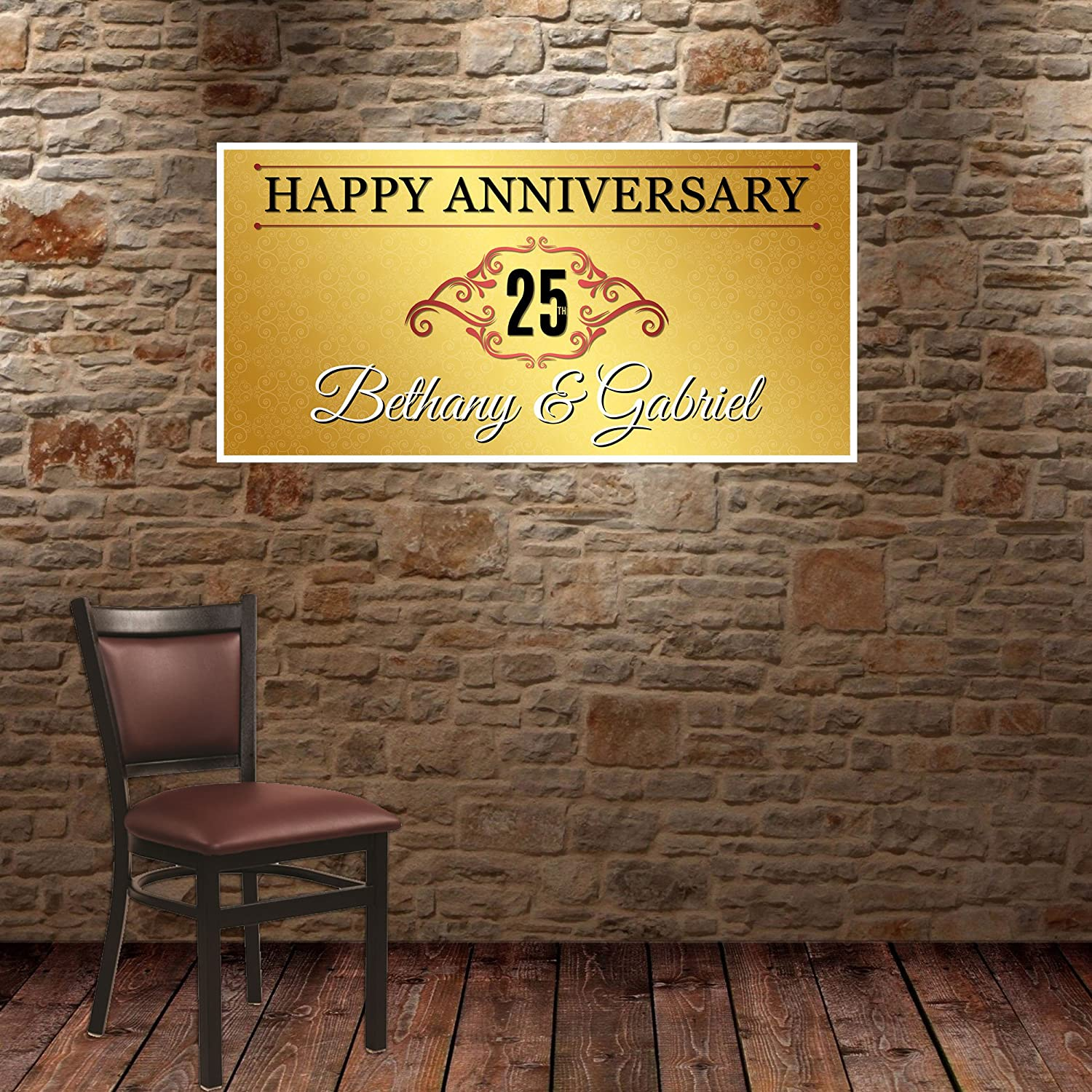 Gold Ornamental Wedding Anniversary Banner Personalized Party Backdrop Decoration