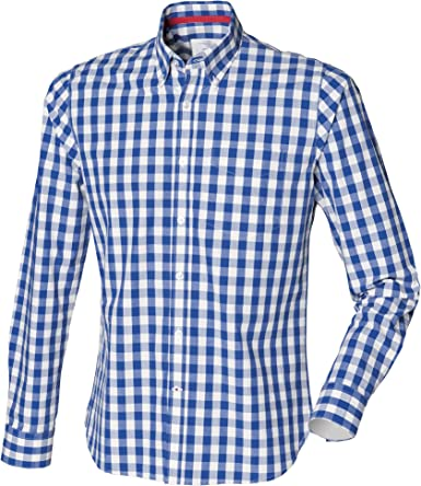 Front Row - Camisa 100% algodón manga larga Casual Diseño a cuadros Hombre hombre caballero - Trabajo/Fiesta/Boda: Amazon.es: Ropa y accesorios