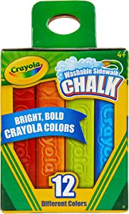 Crayola Washable Sidewalk Chalk, 12 Classic Crayola Colours, Creative Art outside in the fresh air and sunshine, perfect for homes and schools!
