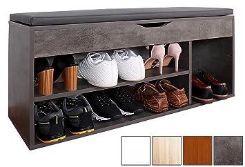 RICOO Schuhregal Mit Sitzfläche Schuhschrank WM034 BG A Schuhablage  Schuhkommode Organizer Boden Garderobe Möbel