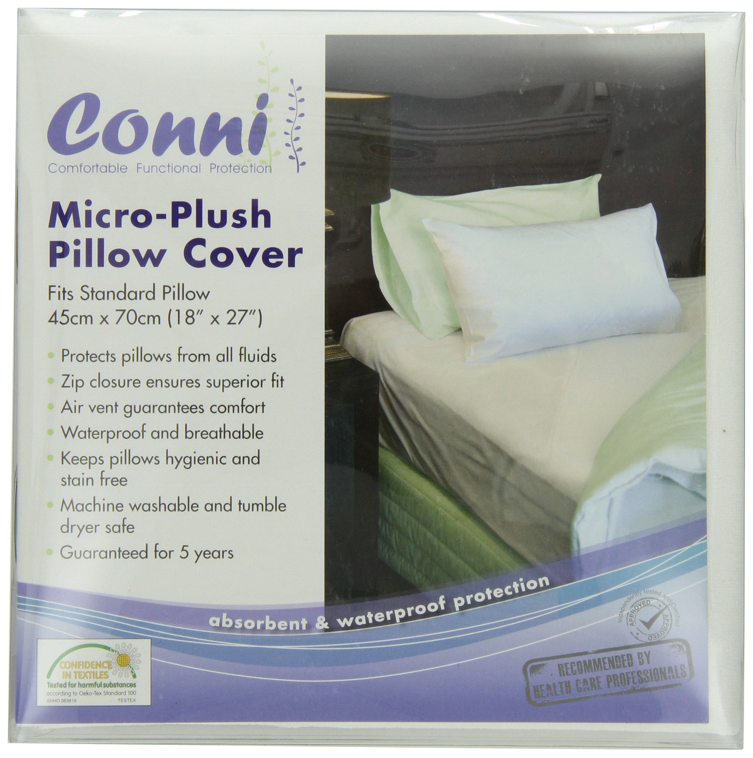 Conni Micro-Plush Pillow Protector, White, Size 18 Inch X 28 Inch, 6 Ounce (Pack of 20)