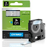 DYMO Standard D1 45020 Labeling Tape (White Print on Clear Tape, 1/2'' W x 23' L, 1 Cartridge)