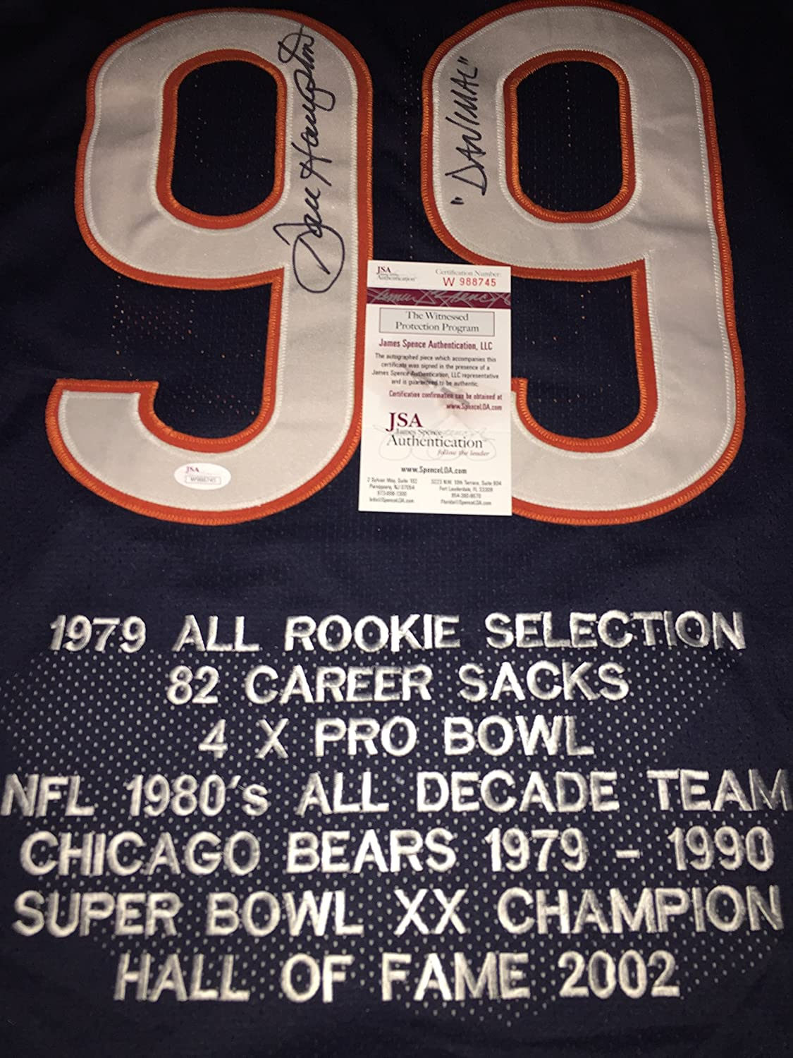 Dan Hampton Chicago Bears Autographed Signed Jersey with Embroidered Stats Blue JSA WITNESS COA SidsGraphs