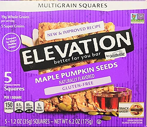 Elevation by Millville Maple Pumpkin Seeds, Gluten Free bar 6oz 1.2oz x 5bars , Pack of 1