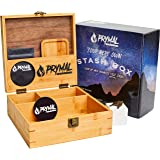Extra Large Stash Box With Lock and Key, Tray and Smell Proof Pouch Set - Premium Black Walnut and durable Bamboo Wood…