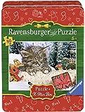 Ravensburger 07547 - Gattino Nella Neve, Christmas Puzzle 80 Pezzi, Edizione Speciale, Scatola in Metallo