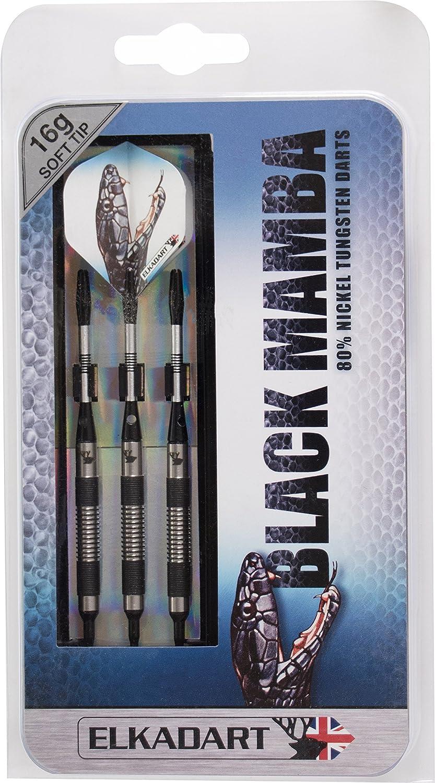 Elkadart Black Mamba 80% Tungsten Soft Tip Darts with Storage/Travel Case