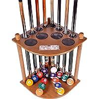 Iszy Billiards Cue Rack Only – 8 Piscinas Barra de Billar & Bola Soporte de Piso con Cortador Elegir Caoba, Negro o Acabado de Roble