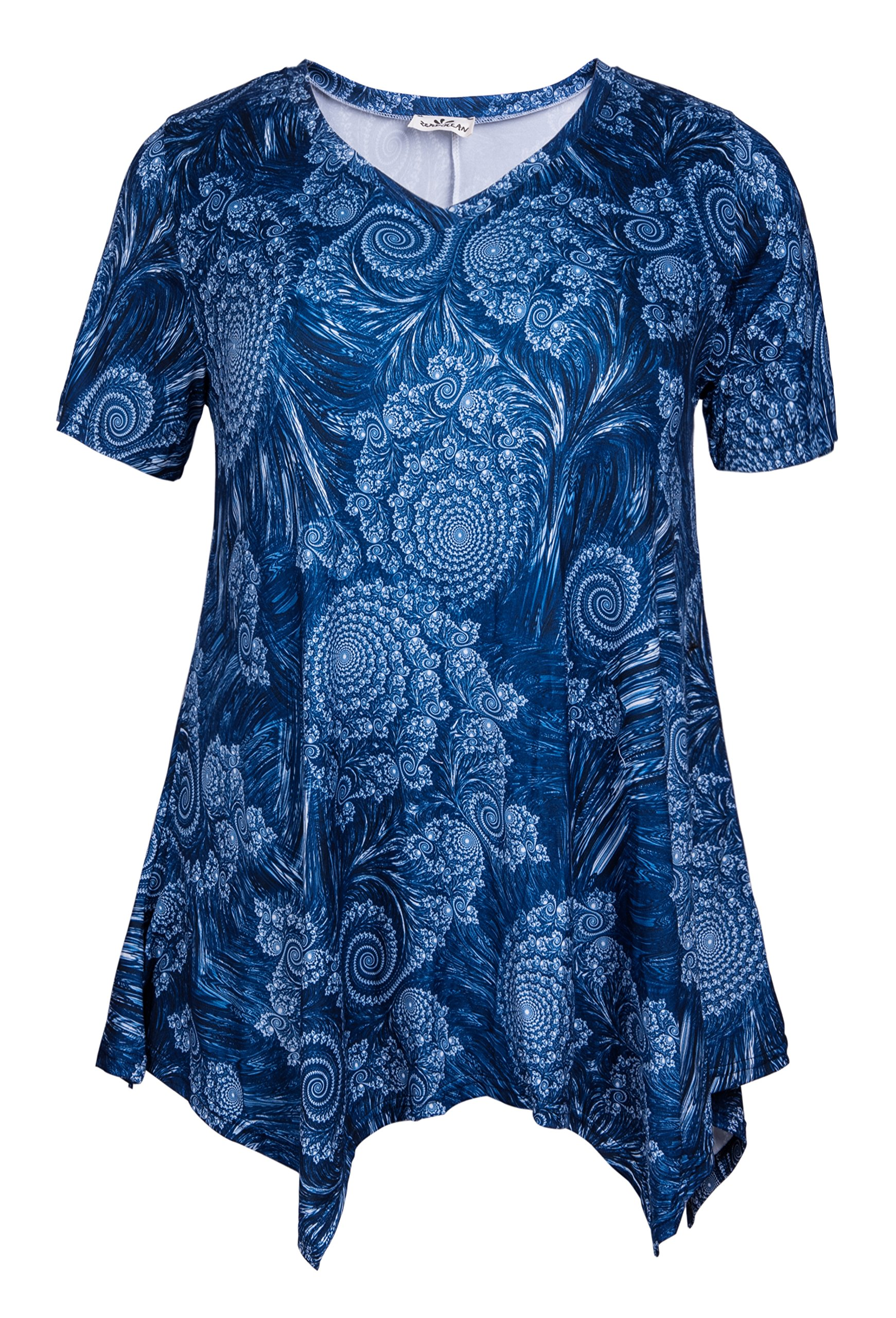 ZERDOCEAN Women Plus Size Printed Short Sleeves Tunic Tops Flowy T Shirt Style-810 3X