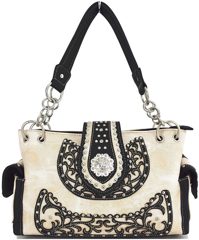Western Cowgirl Concealed Carry Belts Flower Rhinestone Purse Handbag Messenger Shoulder Bag Beige