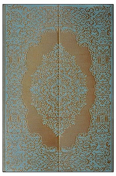 Sapana Mats Istanbul - Fair Aqua & Golden Plastic Floor Mat Plastic Chatai (4 X 6) Medium