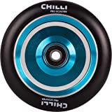 Chilli Pro Scooter Wheels 110mm Urethane - Coast Pro Scooter Replacement Wheels - Blue Pro Scooters Wheels & ABEC 9 Bearings w/Aluminum Hubs - Freestyle Stunt Scooter Wheel - (1 Single Wheel)