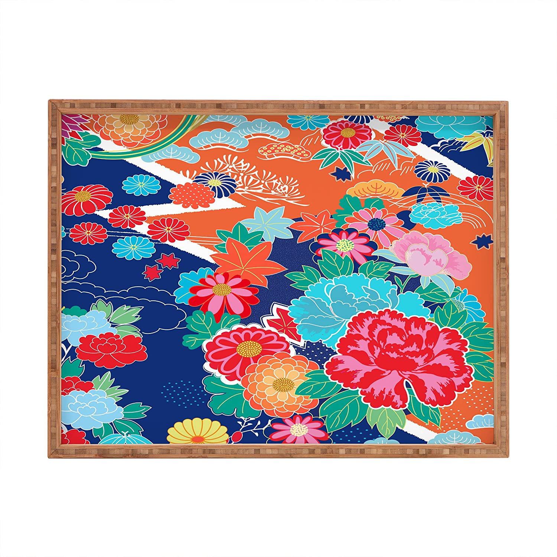 17 x 22.5 Deny Designs Juliana Curi Osaka Orange Indoor//Outdoor Rectangular Tray