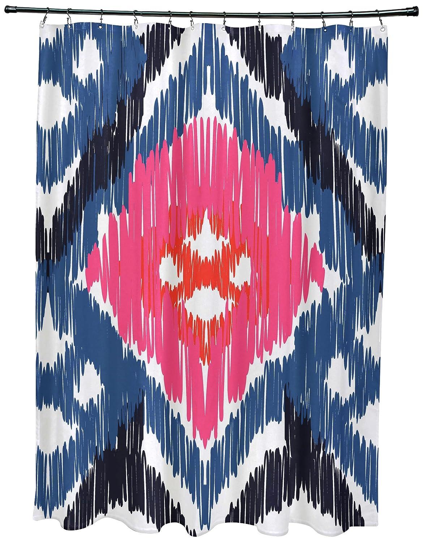 E by design SCGN542BL40PK8 Original Geometric Print Shower Curtain Blue