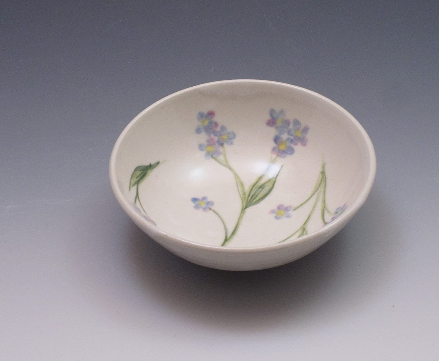 Small porcelain bowl, hand thrown and hand painted with forget-me-not flowers