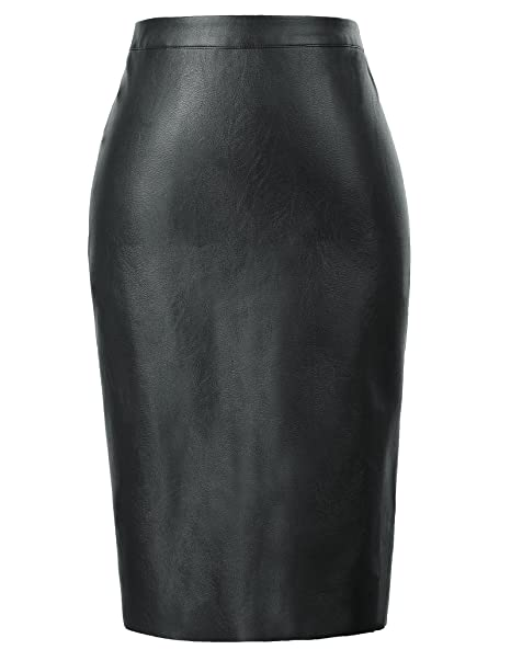 hot-selling newest really cheap choose official Kate Kasin Women's Faux Leather Pencil Skirt Hip Wrapped Back Split KK601