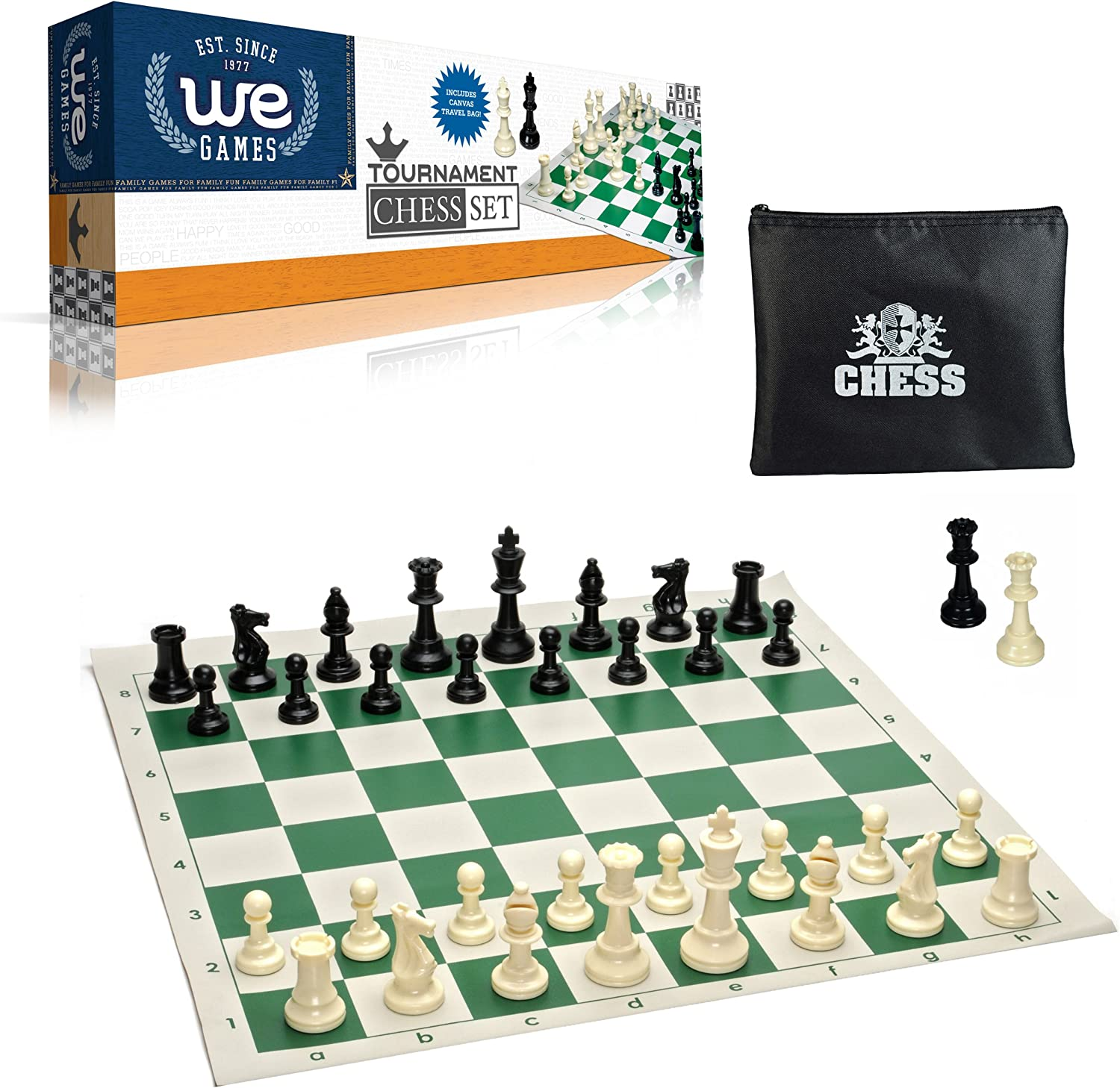 Superior Chess Set Combination Royal Blue Bag Solid Plastic Board