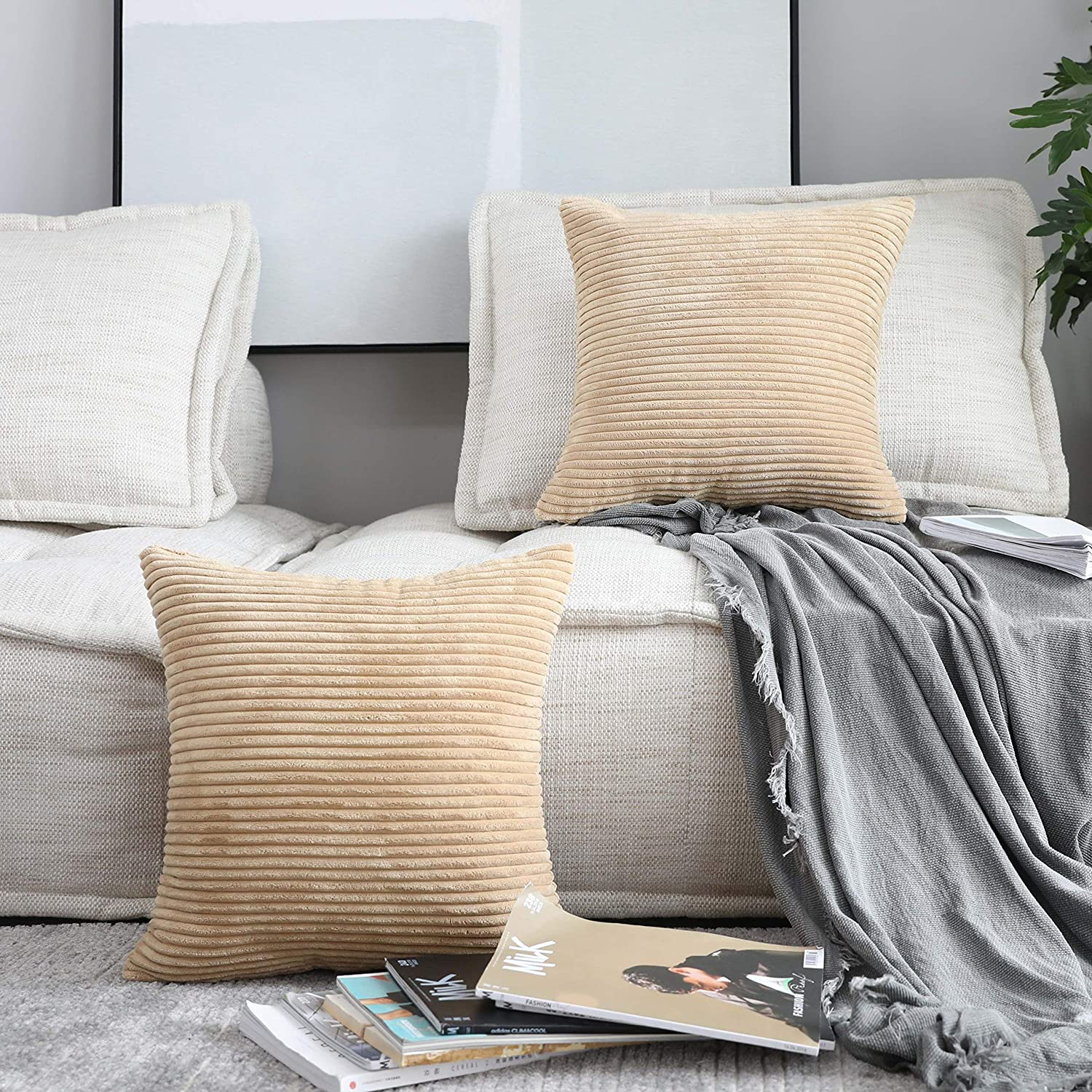 Home Brilliant Decor Supersoft Striped Velvet Corduroy Decorative Throw Toss Pillowcase Cushion Cover for Chair, Taupe, 2 Pack(50x50 cm, 20inch)
